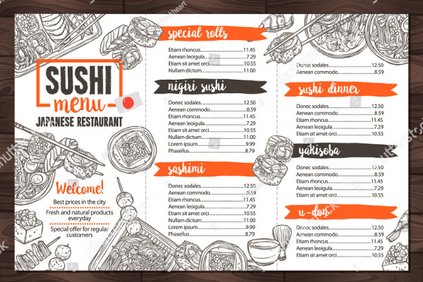 Sushi And Japanese Food Restaurant Menu