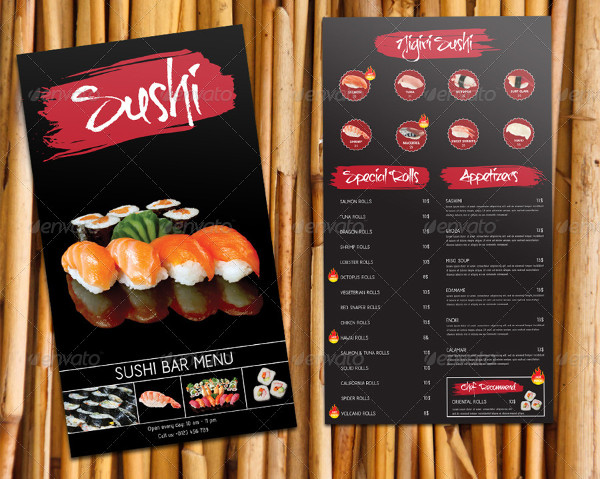 Custom Sushi Bar Menu Template