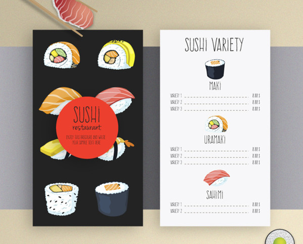 Sushi Free Vector Menu Template
