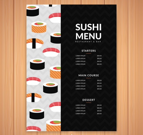 Free Download Sushi Menu Template Vector