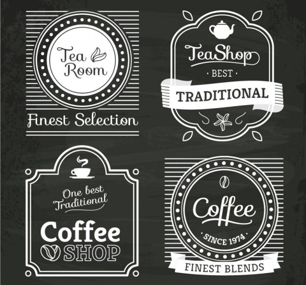 Tea and Coffee Shop Logos Free Vector