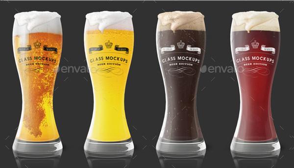 Transparent Beer Glass Mockups