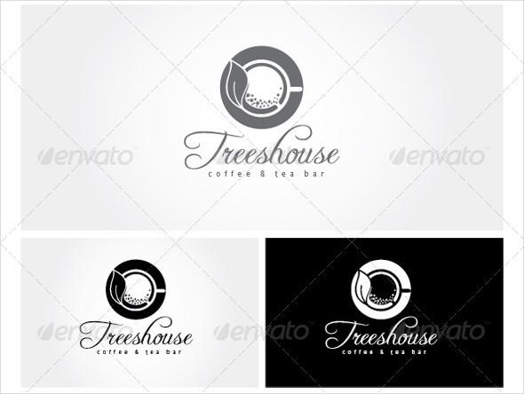 Trees House Green Coffee and Tea Logo Template