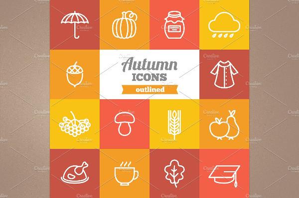Unique Outlined Autumn Icons