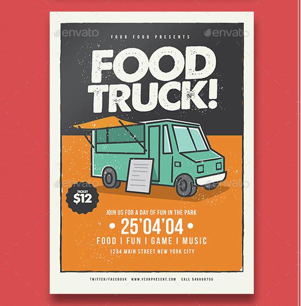 Urban Food Truck Advertising Flyer Template