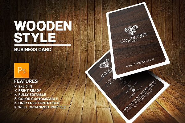 Vintage Business Card in Wooden Style