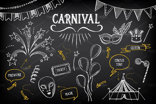 Vintage Carnival Doodle Icons
