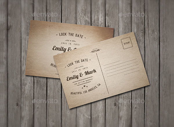 Vintage Wedding Postcard Template