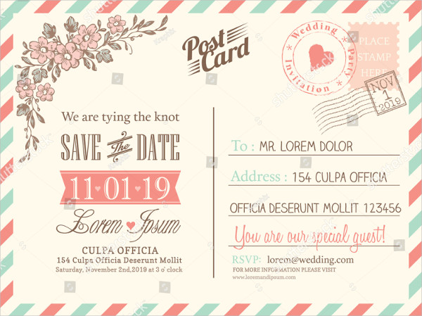 Vintage Postcard Background Template for Wedding Invitation