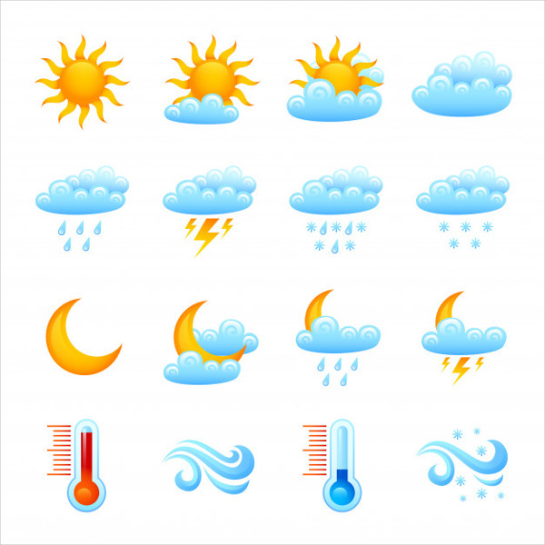Weather Icon Set Free Vector