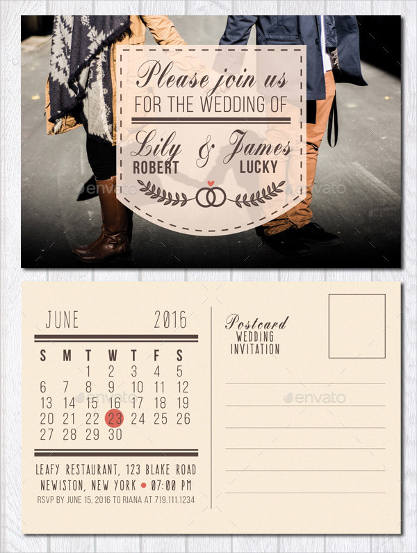 Wedding Invitation Postcard with Calendar
