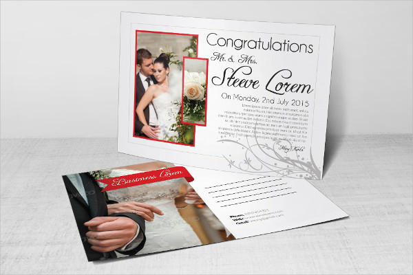 Wedding Invitation Postcards Template