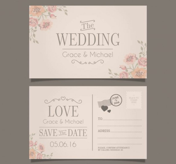 Wedding Invitation in Postcard Style Free
