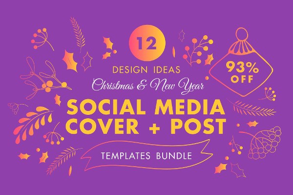 Winter Social Media Cover & Post Design Templates Bundle