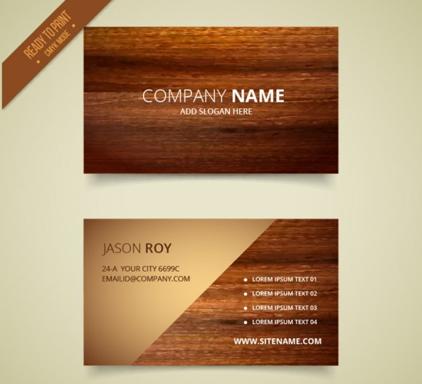 Free Vector Wooden Business Card Template