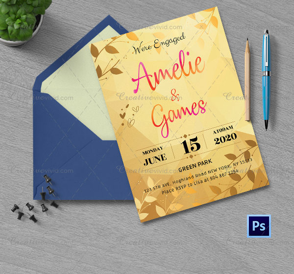 Unique Engagement Invitation Card Template