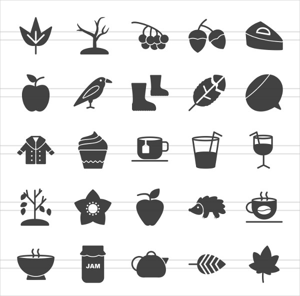50 Autumn Glyph Icons