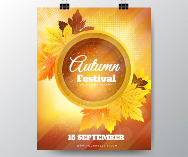Autumn Festival Poster with Dry Leaves Free