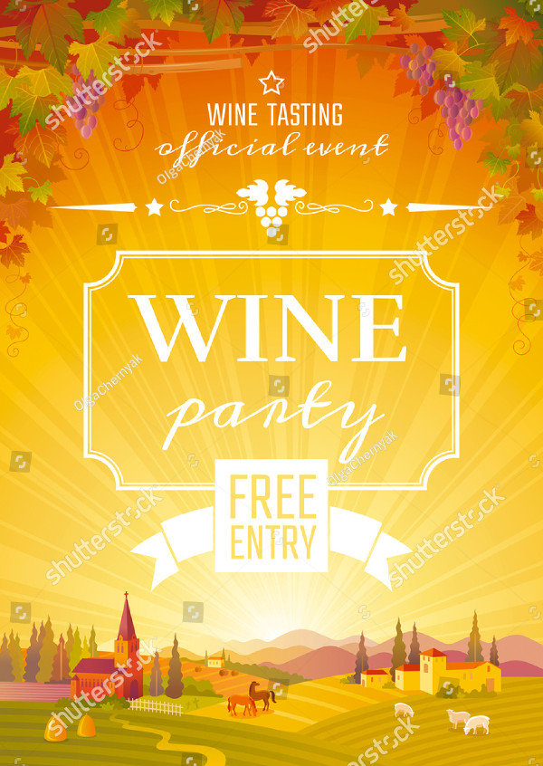 Autumn Wine Party Poster Vector