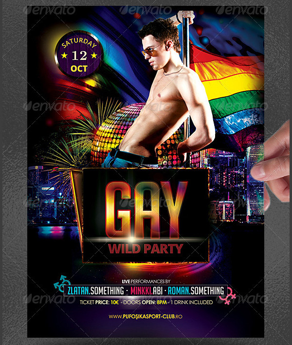 Gay Wild Party Flyer Template