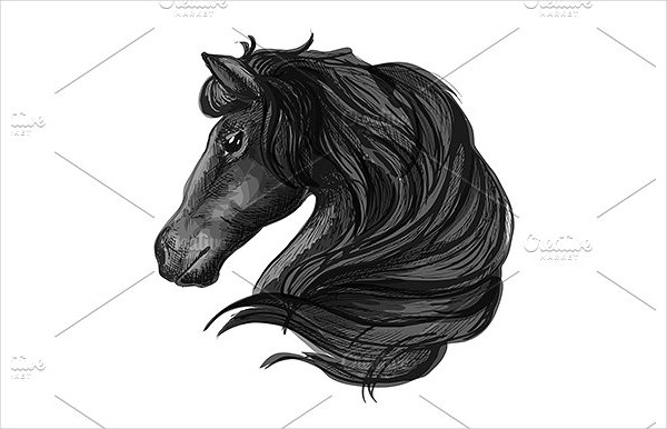 Black Horse Head Icon