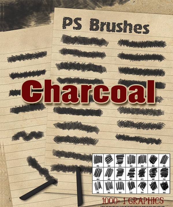 22 Charcoal PS Brushes
