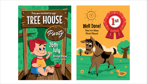 Children's Birthday Party Cartoon Posters