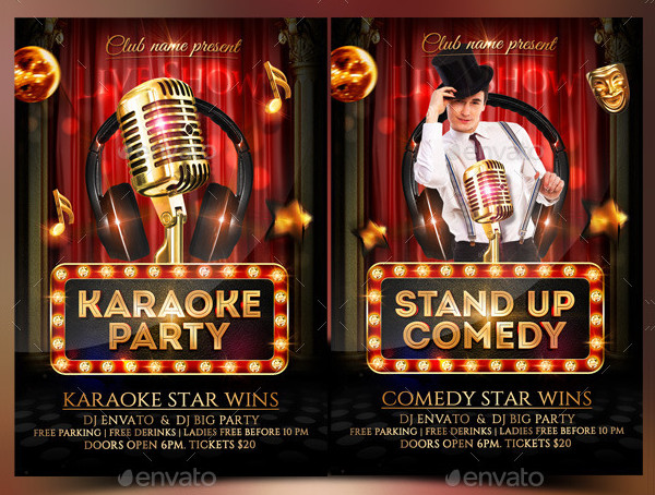 Comedy and Karaoke Party Flyer