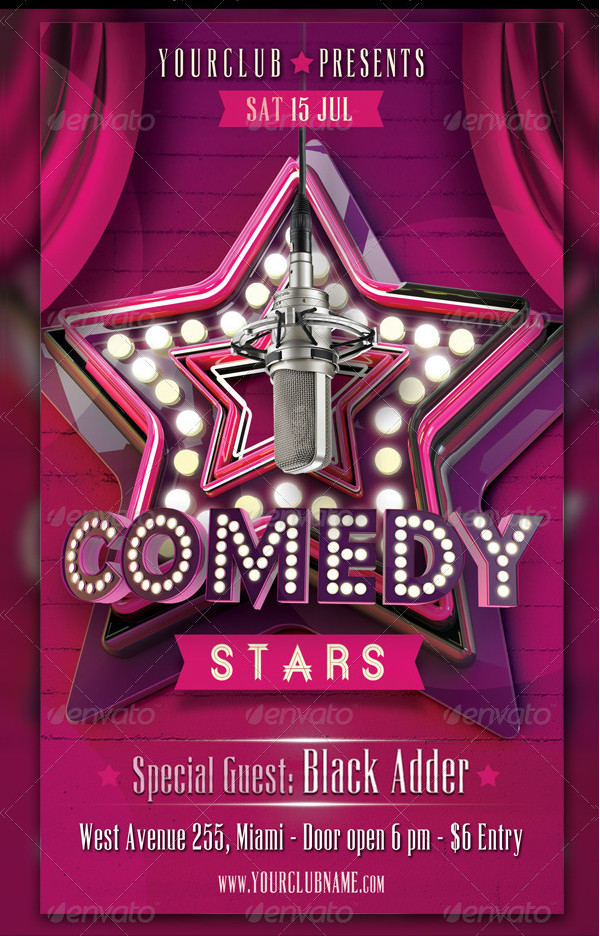 Comedy or Karaoke Stars Flyer Template