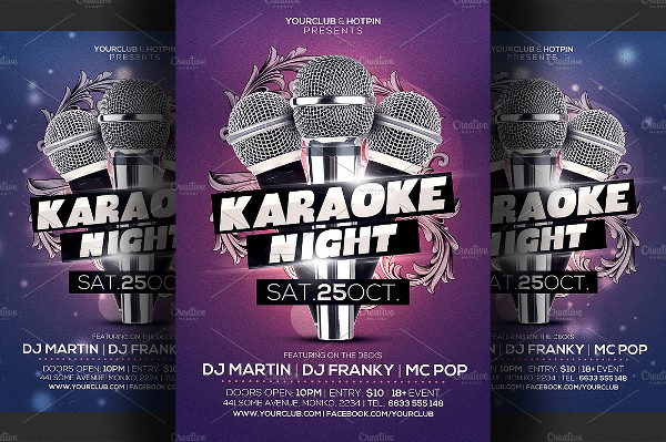 Editable Karaoke Night Flyer Template