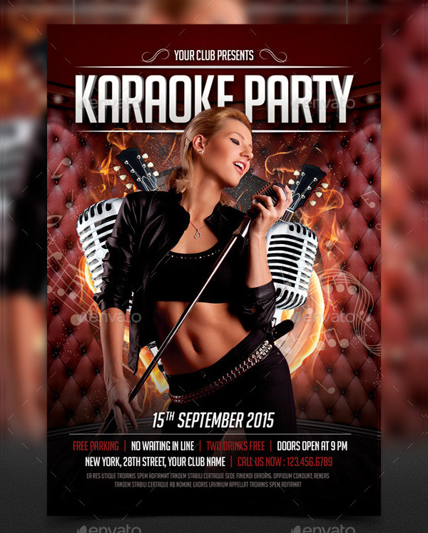 Elegant Karaoke Party Flyer Template