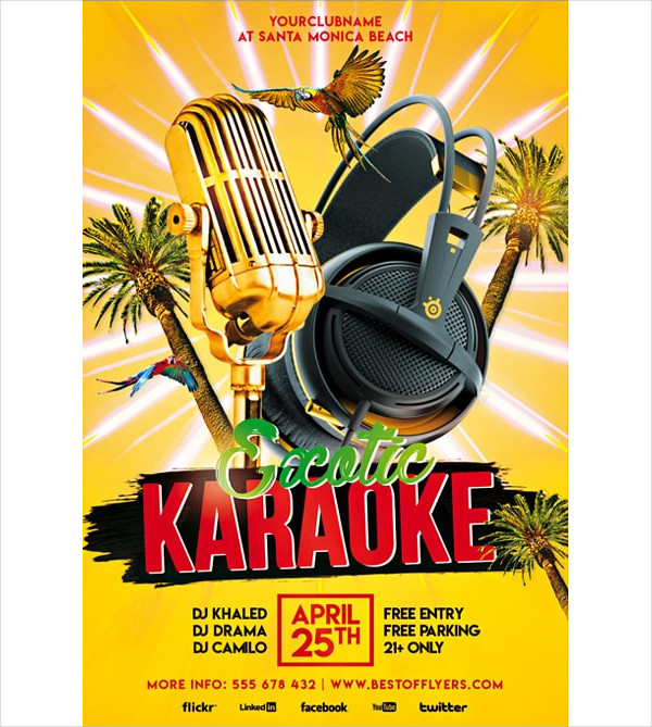 Exotic Karaoke Party Free Flyer Template