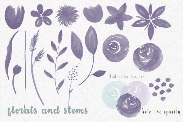 Photoshop Brushes of Floral and Washes