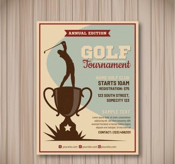 Free Golf Tournament Flyer in Vintage Style
