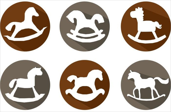 Free Rocking Horse Long Shadow Icons Vectors