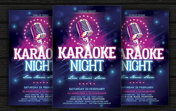 Fully Editable Karaoke Part Flyer Template