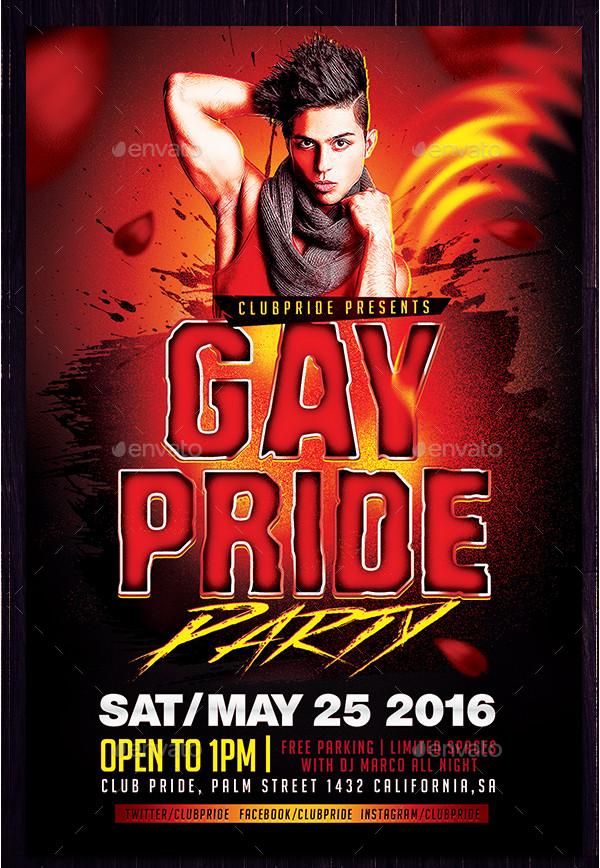 Custom Gay Pride Party Flyer Design