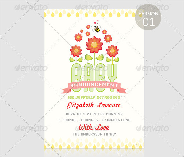 Girl Baby Shower Card Template