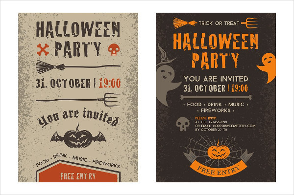 Kids Halloween Party Invitation Card