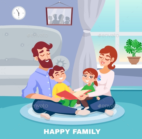 Happy Family Cartoon Poster Design