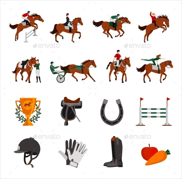 Horse Riding Sport Icons