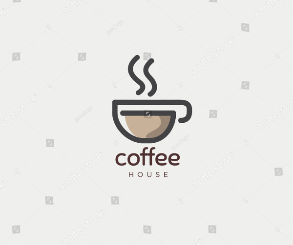 Hot Coffee Cafe House Logo Design