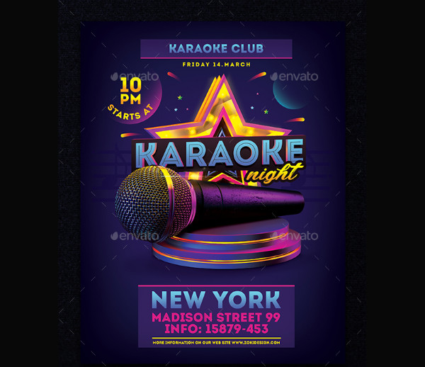 Karaoke Birthday Party Flyer