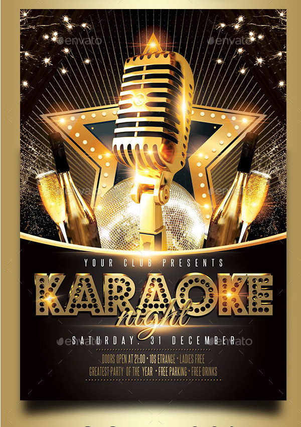 Karaoke Champagne Night Party Flyer