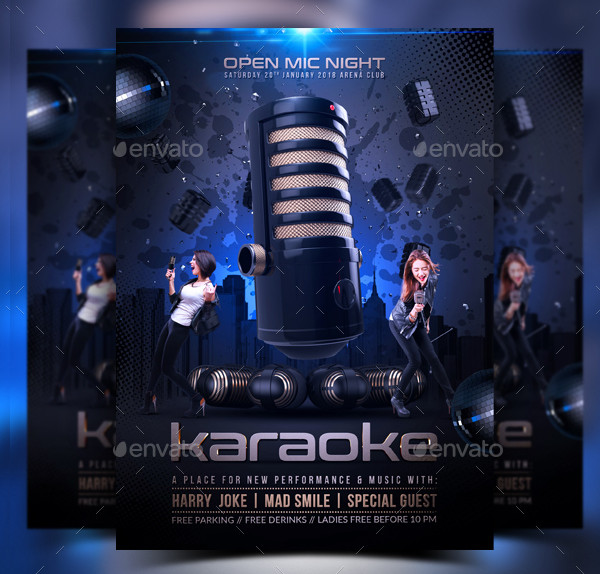 Fully Editable Karaoke Party Event Flyer