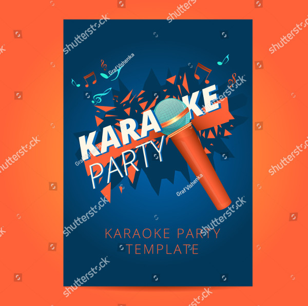 Karaoke Party Flyer With Microphone