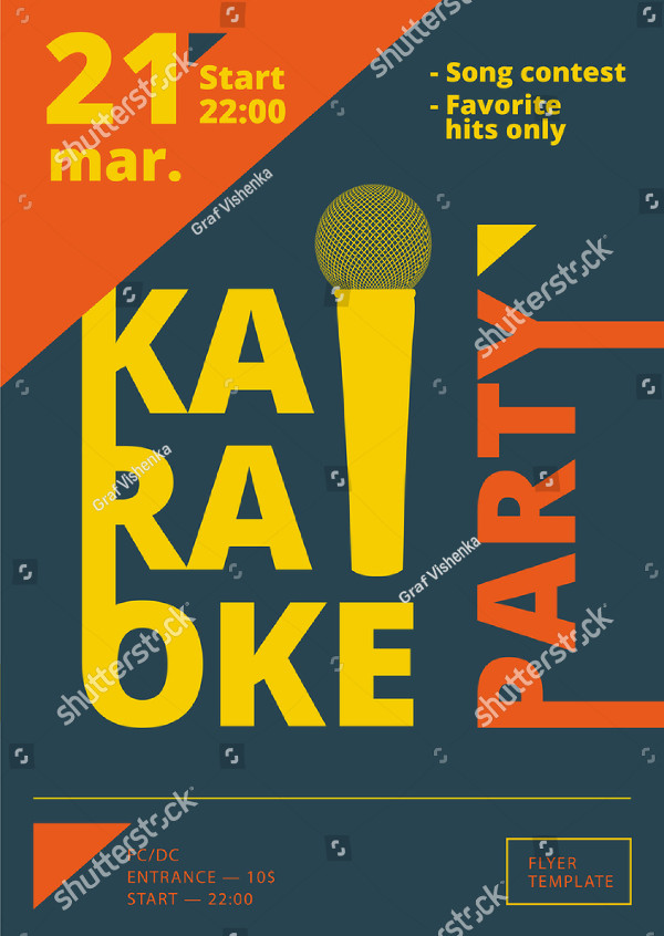 A4 Karaoke Party Poster or Flyer Template