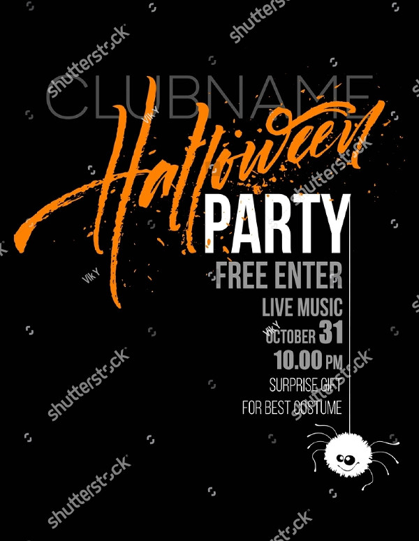 Black Halloween Party Invitation Design