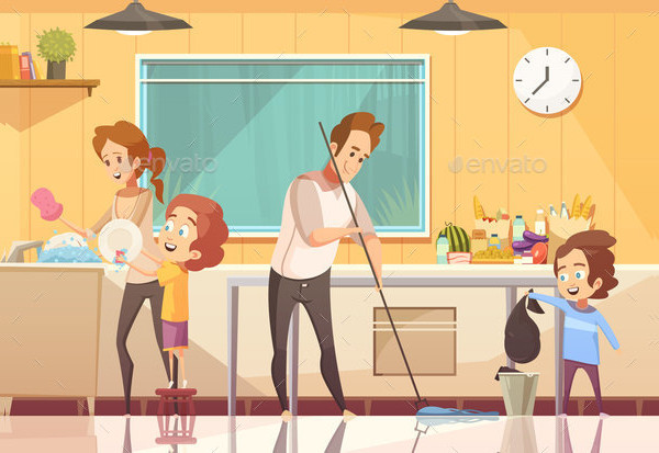 Kids Helping Cleaning Cartoon Poster