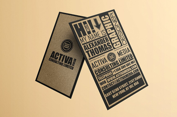 Kraft Paper Typography Business Cards